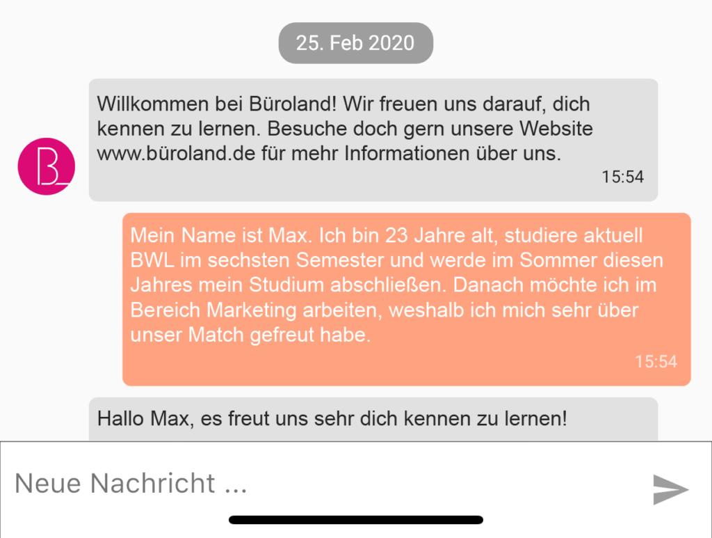 Screenshot von JobsNavi mit Chat Variante 2