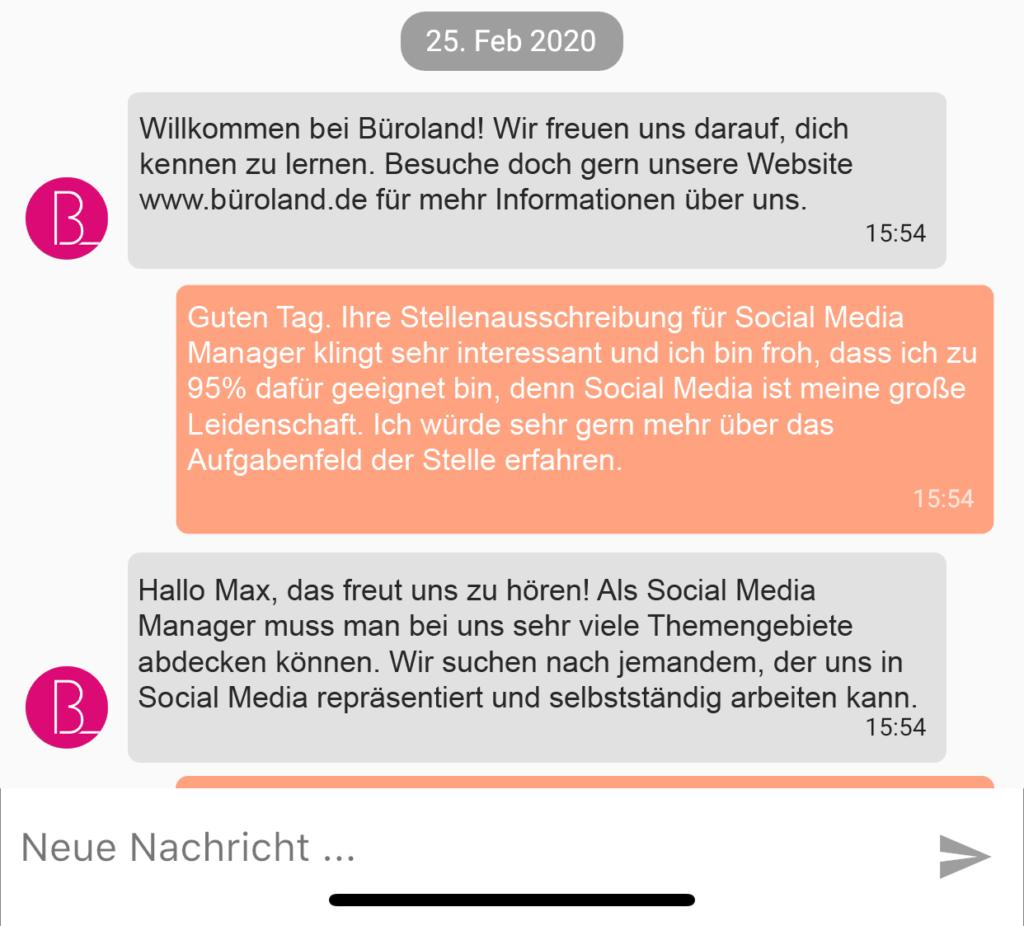 Screenshot von JobsNavi mit Chat Variante 4