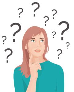 sehr verwirrtes Mädchen mit vielen Fragezeichen